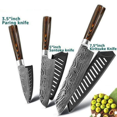 StructuredShop kitchen Premium Japanese Kitchen Chef Knives 3.5in + 5in + 7.5in Knife Pack (SAVE $25)