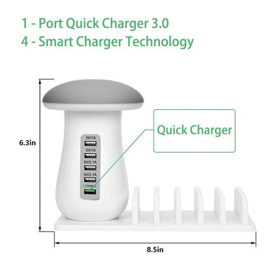 StructuredShop phone charger 5 USB Fast Charging Station With Night Light
