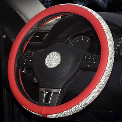 StructuredShop steering wheel covers Luxury Diamonds Steering Wheel Cover Red