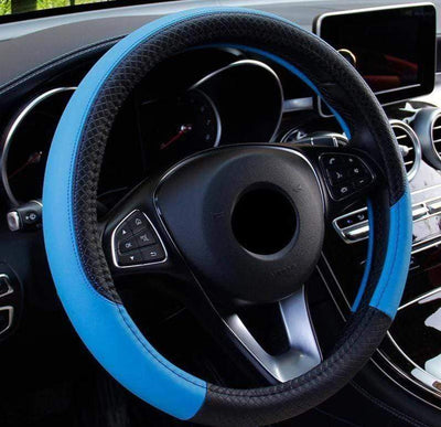 StructuredShop steering wheel covers Premium Leather Steering Wheel Cover Blue