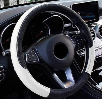 StructuredShop steering wheel covers Premium Leather Steering Wheel Cover White