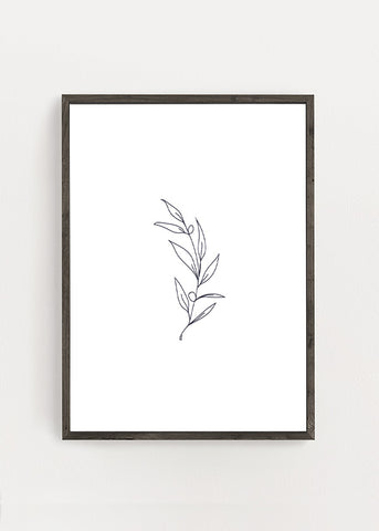 Flower Branch Line Art Poster