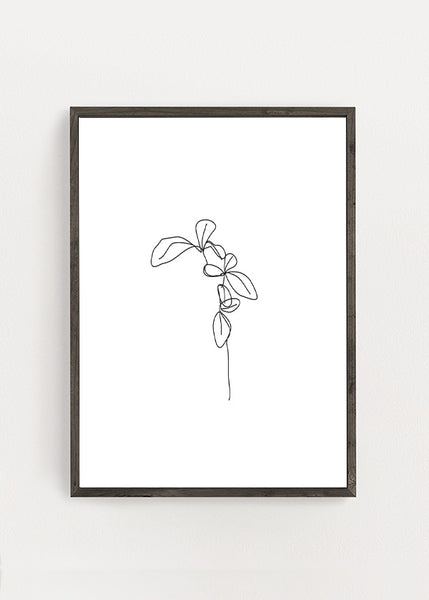 Botanical Flower Line Art Poster