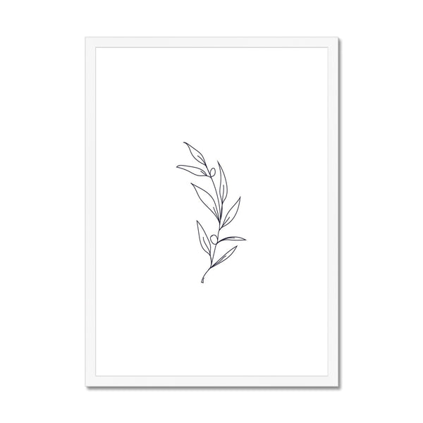 Flower branch line art Framed Print