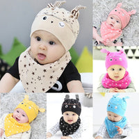 Cute Toddler Boys & Girls Sleep Hat Cap and Triangle Scarf