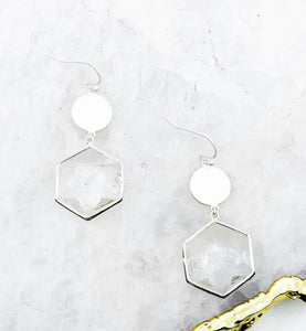 Hexagon stone earrings