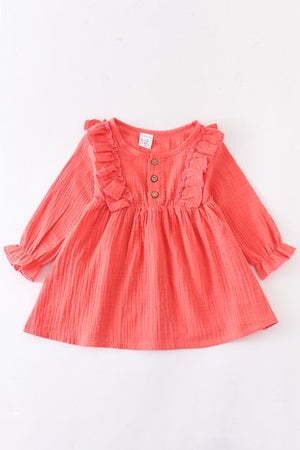 Girl's coral ruffle dress
