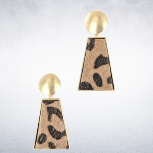 Gold leopard drop earrings