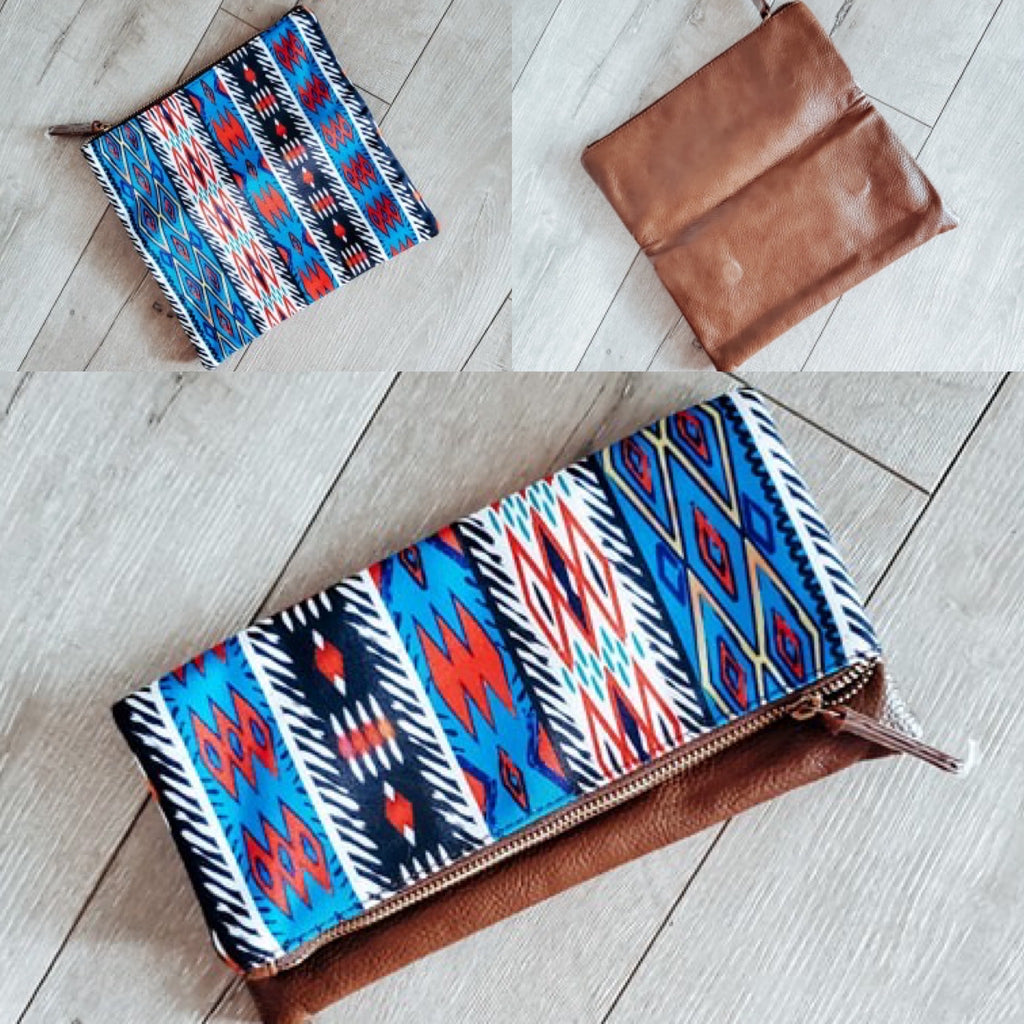 Punchy fold over clutch - Arrows, Bows & Lil Toes