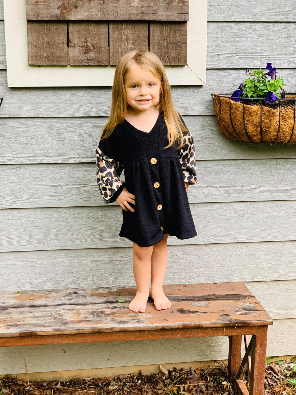 Girls Cheetah Sleeve Dress - Arrows, Bows & Lil Toes