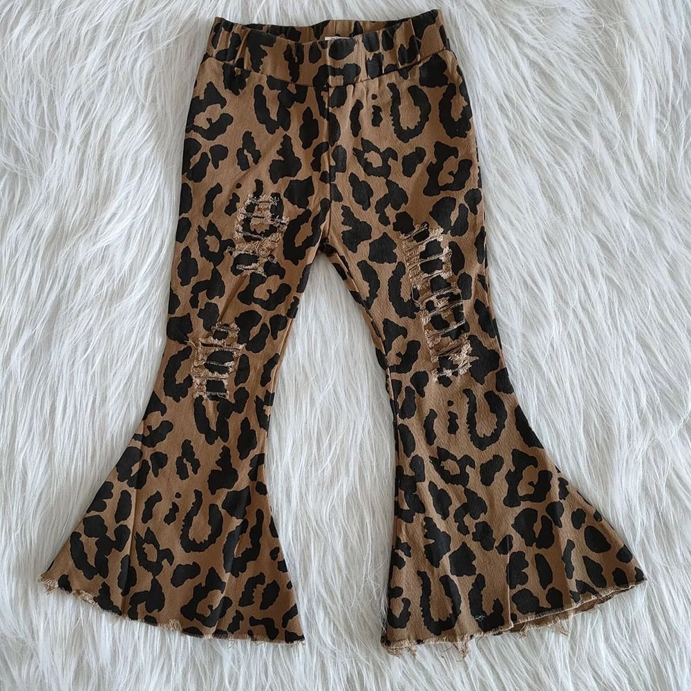 Youth leopard bell bottoms