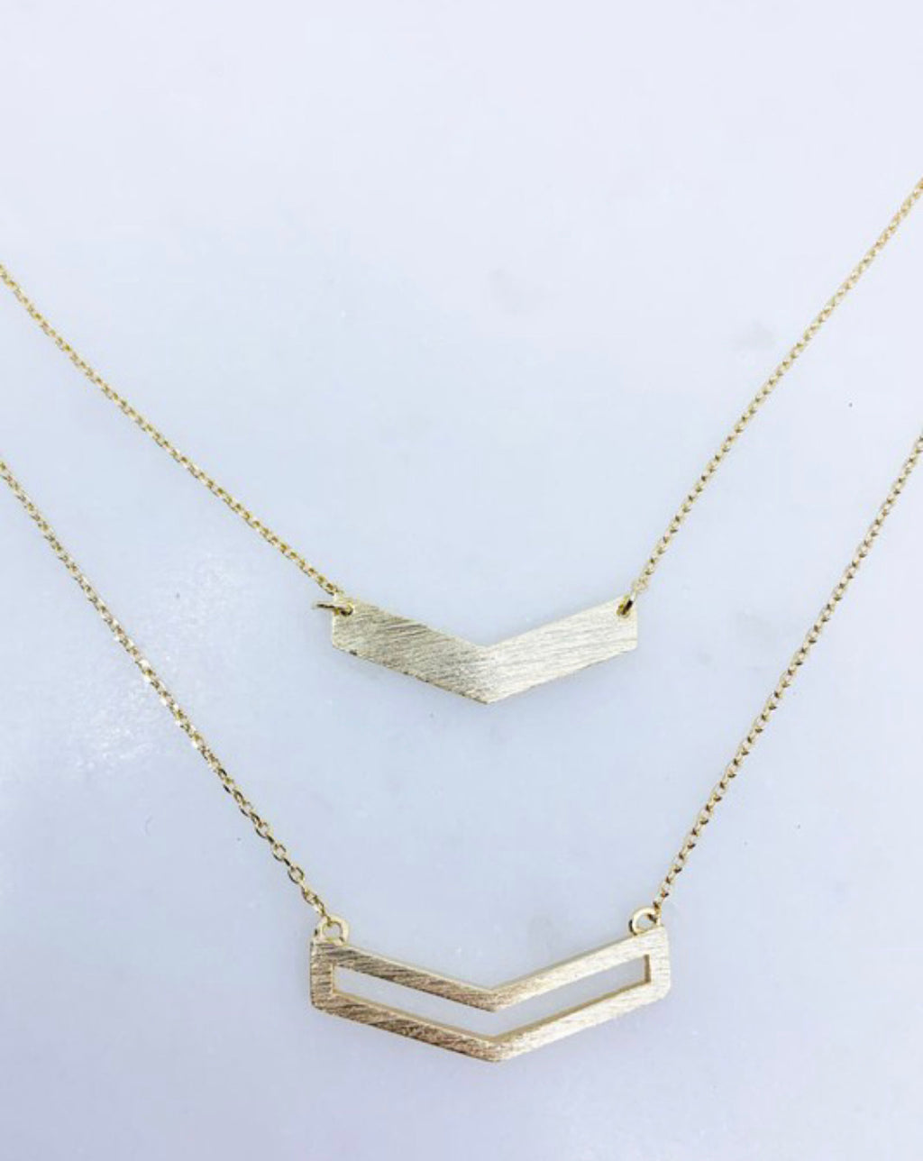 Double layered chevron necklace