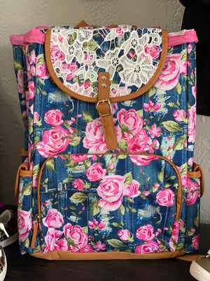 Navy & Lace Backpack - Arrows, Bows & Lil Toes