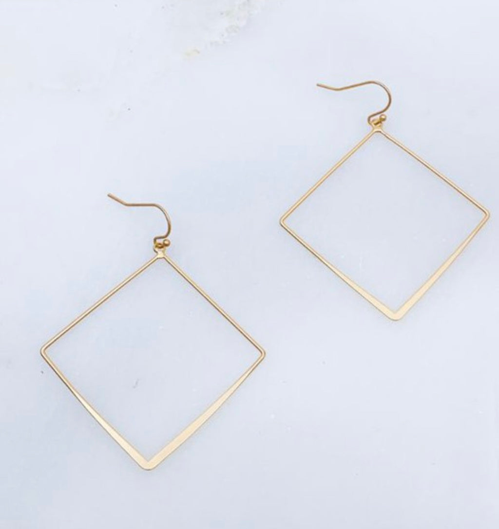 Gold layered diamond drop earrings