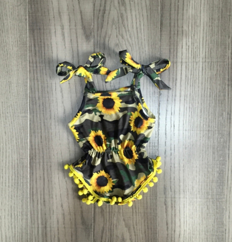 Baby camo sunflower romper - Arrows, Bows & Lil Toes