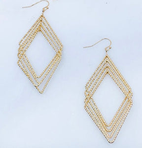 Matte gold diamond shaped earrings