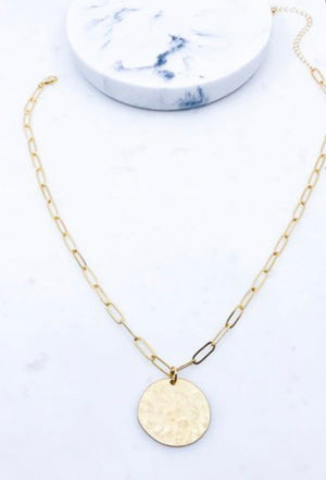Hammered coin chain necklace
