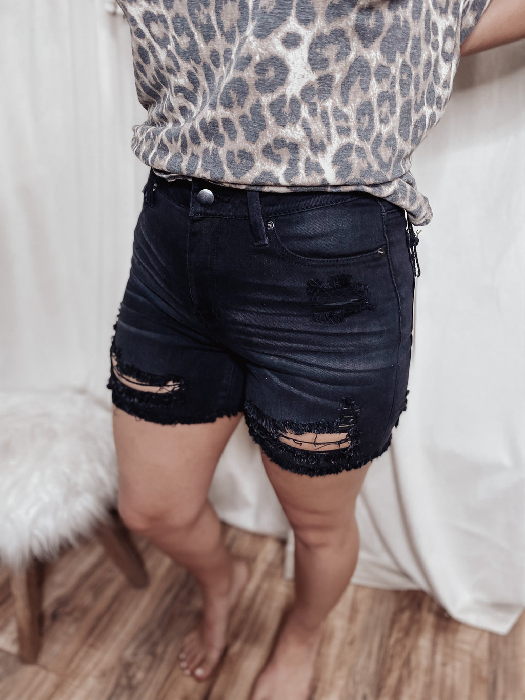 Heather black denim shorts