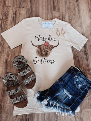 Messy Hair Highland Cow tee