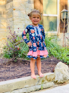 Kids blue floral dress