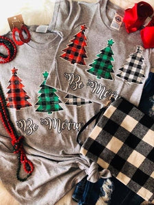 Kid's Plaid Xmas Trees Tee
