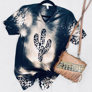 Leopard bleached cactus tee