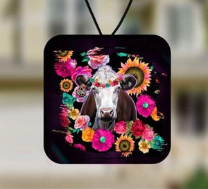 Floral cow air freshener