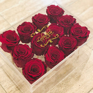 ETERNAL ROSES IN CRYSTAL ACRYLIC BOX - 12
