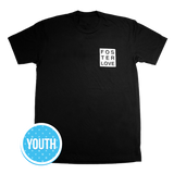 Foster Love Boxed Crew, Youth T-Shirt Black | Together We Rise