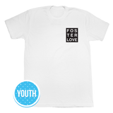 Foster Love Boxed Crew, Youth T-Shirt White