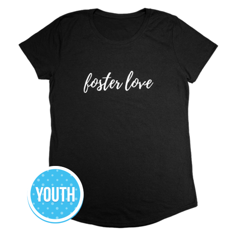 Foster Love, Youth Short Sleeve T-Shirt, Black | Together We Rise