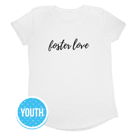 Foster Love, Youth Short Sleeve T-Shirt, White