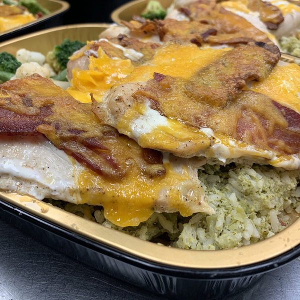 Bacon Ranch Chicken Breasts w/Broccoli Cheese Casserole & Roasted Veggies