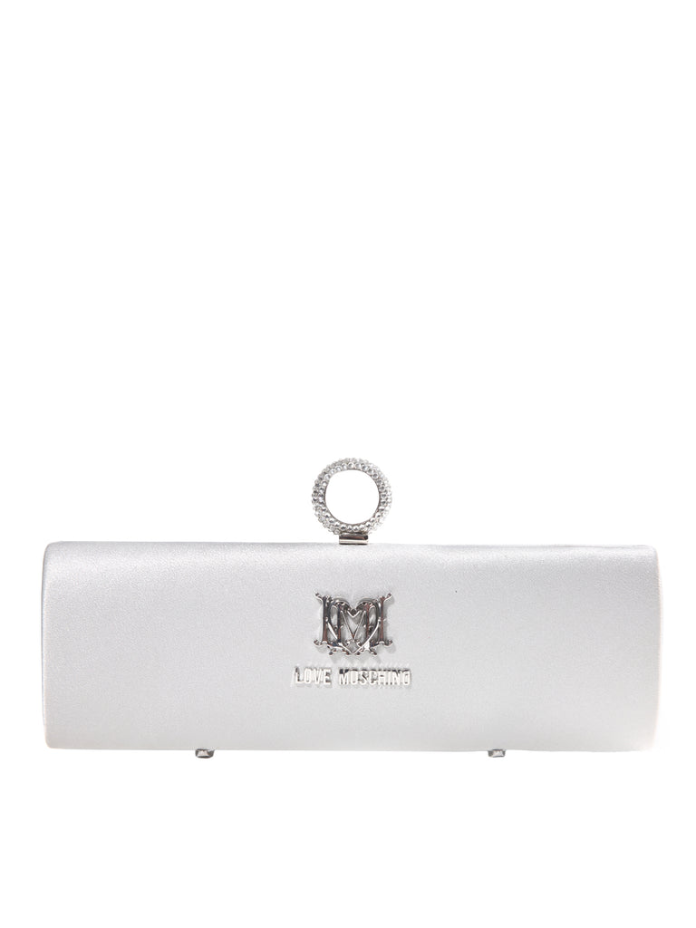 Borsa Satin Argento Clutch, LOVE MOSCHINO - elilhaam.com