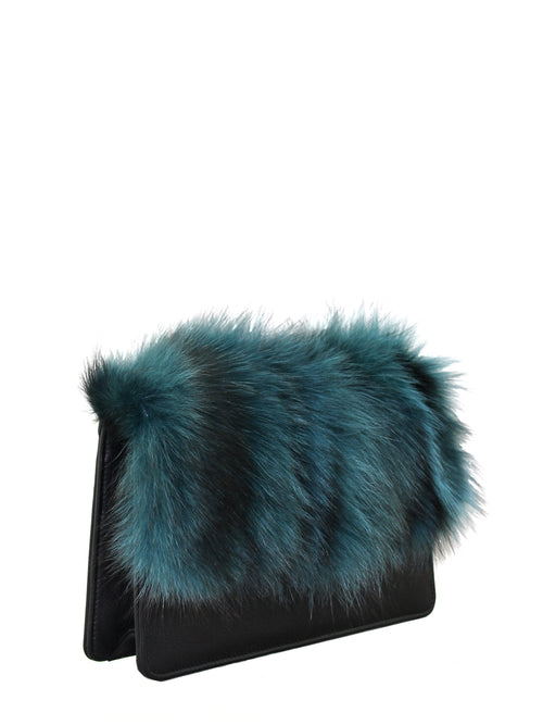 Petrol Fox Fur Clutch Bag