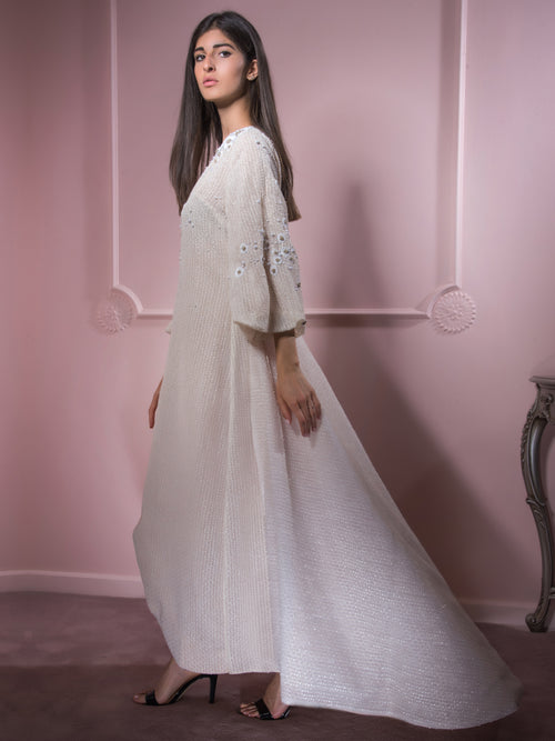 Beige Snow Queen Dress, MOONOIR - elilhaam.com