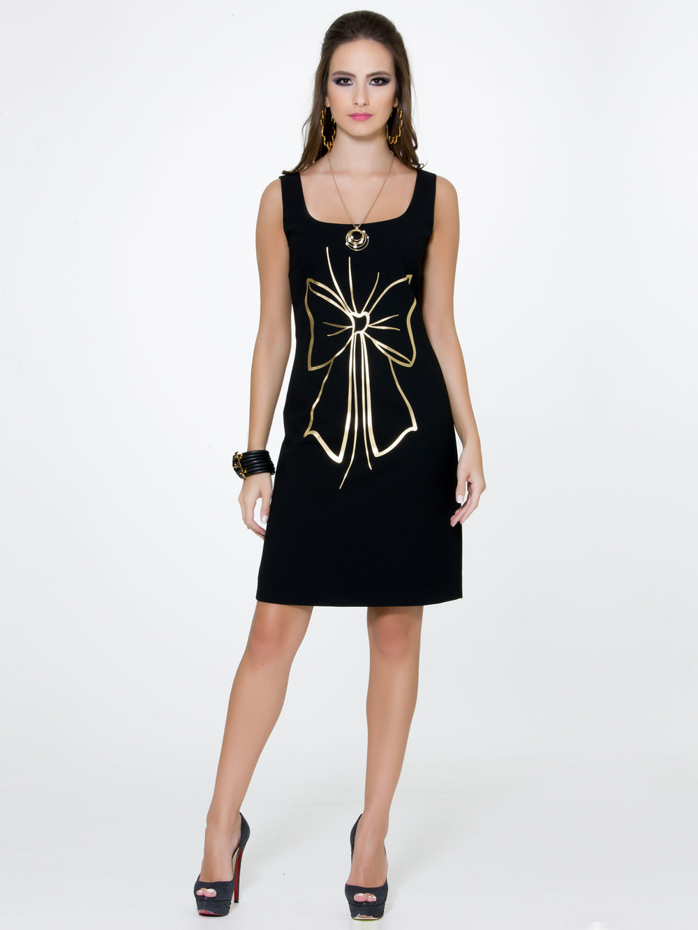 Black Bow Print Dress, BOUTIQUE MOSCHINO - elilhaam.com