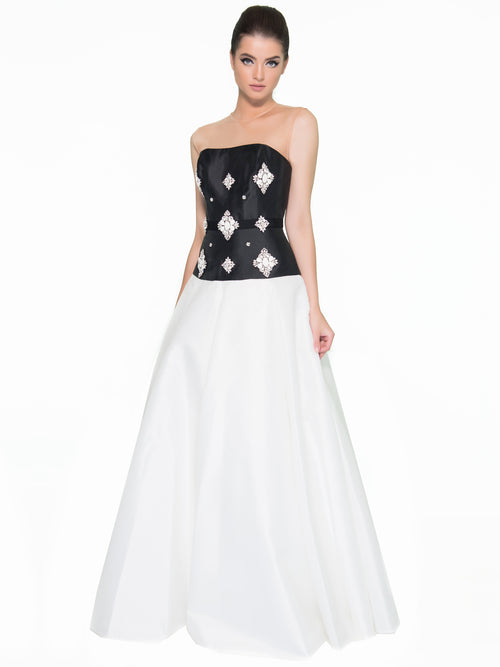 Noir/Ivory Illusion Ball Gown, DORIAN HO - elilhaam.com