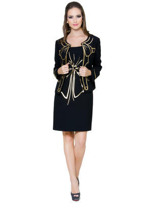 Black Gold Bow Jacket, BOUTIQUE MOSCHINO - elilhaam.com