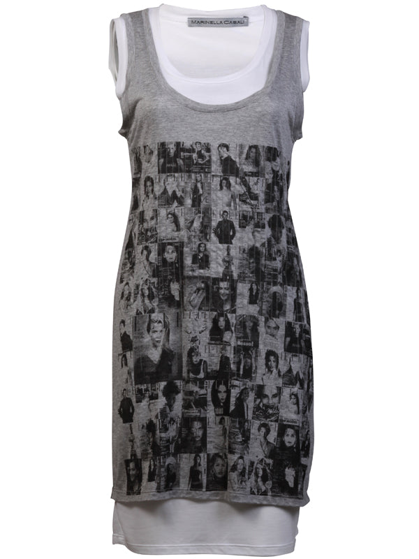 Grey and white Sleeveless Double Top