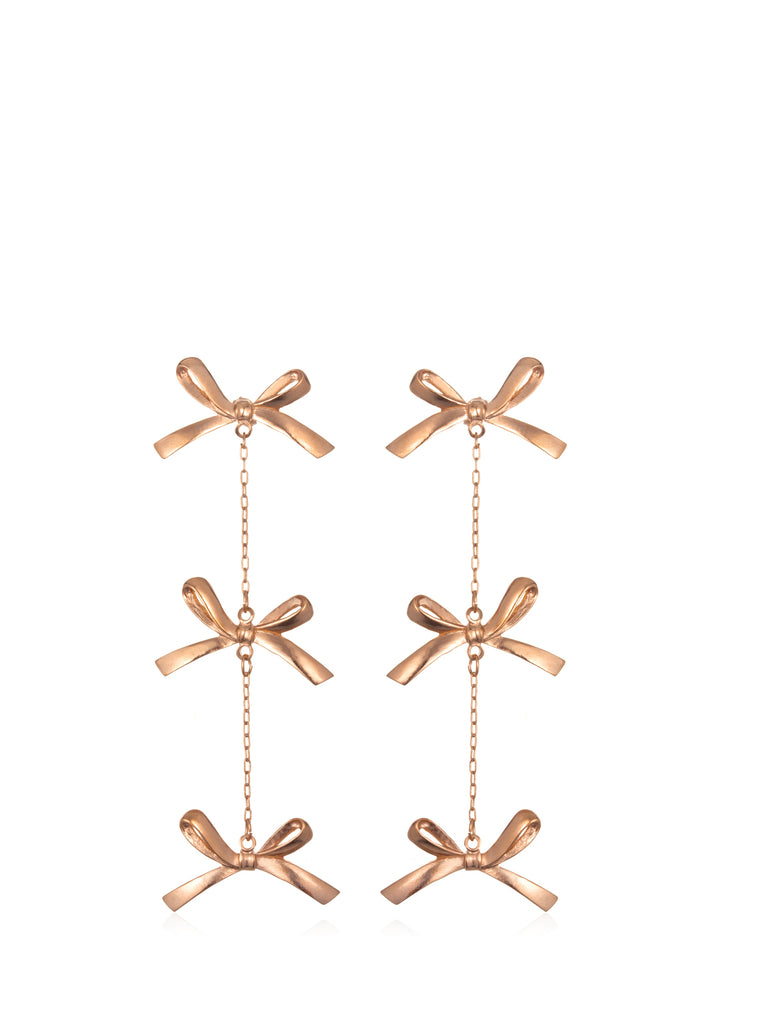 Rose Gold 3 Tier Bow Earrings, TULESTE - elilhaam.com