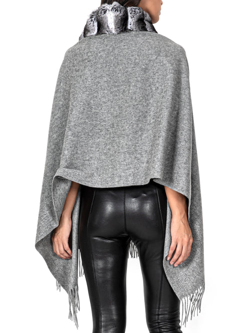 Fur-Trimmed Cashmere Poncho