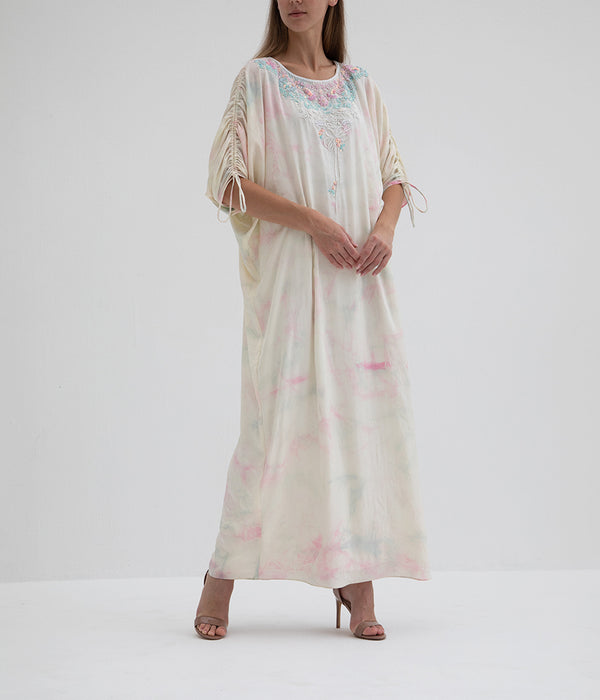 Tie N Dye With Adjustable Bow Sleeves Kaftan