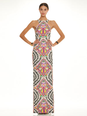 High Neck Column Cosmic Fountain Dress