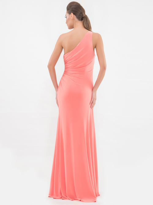 One Shoulder Peach Sleeveless Gown, VITTORIA ROMANO - elilhaam.com