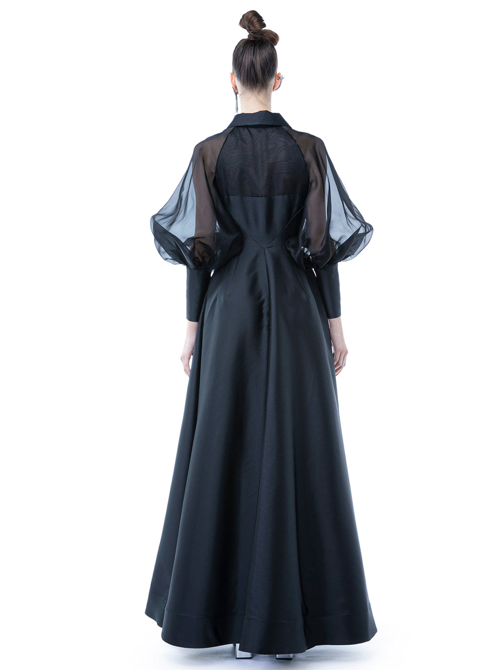 Black Long Chemisier Dress With Embroidery
