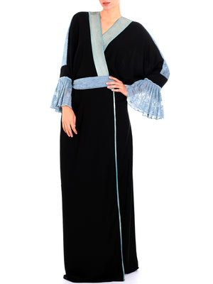 Blue French Bisht Abaya, QUEEN OF SPADES BY LAMYA ABEDIN - elilhaam.com
