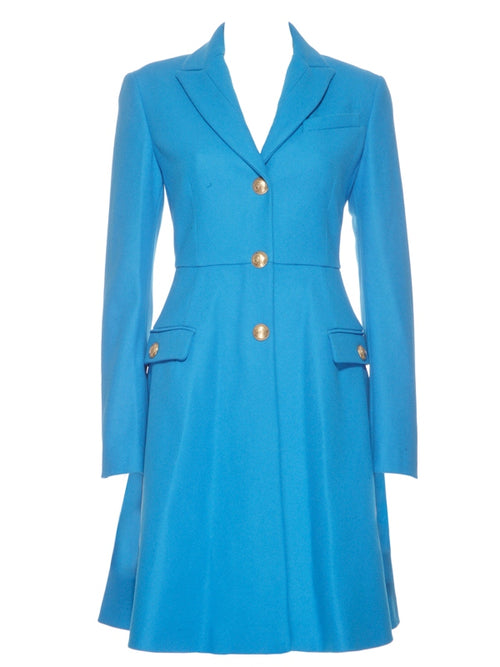 Teal Virgin Wool Coat Dress, VERSACE - elilhaam.com