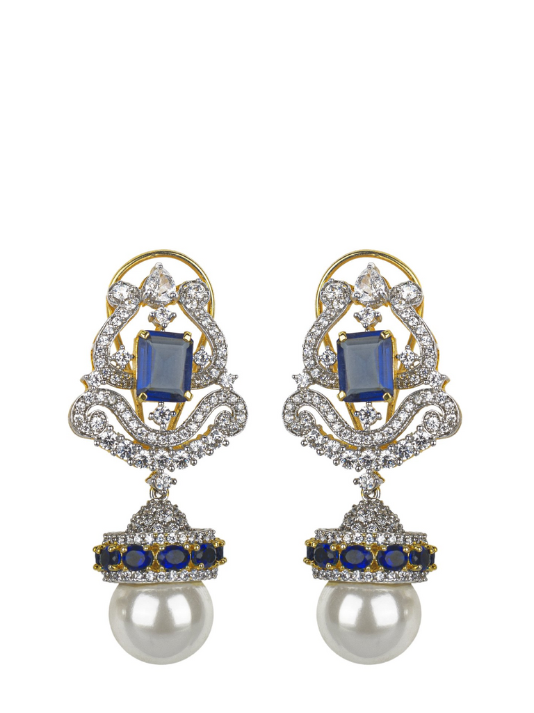 Pearl Drop Blue Stone Cut Earrings