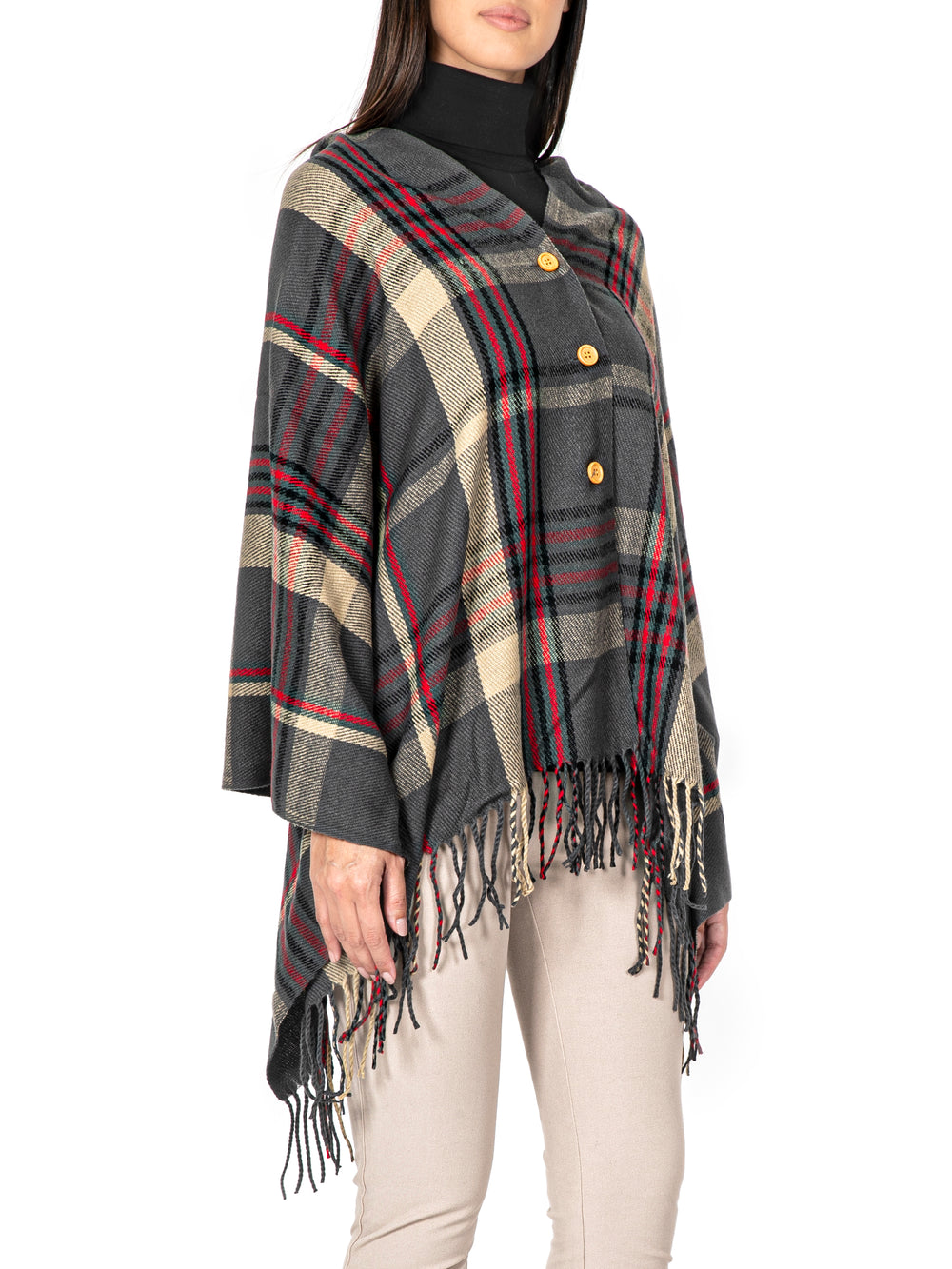 Fringed Checked Wool Poncho